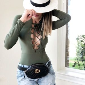 GoJane Sexy Green Lace Up Tie Up Bodysuit Blouse